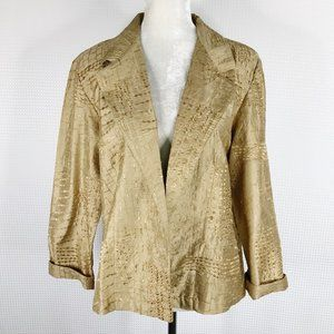 Chico's Jacket Gold Embroidered Size 2 Large
